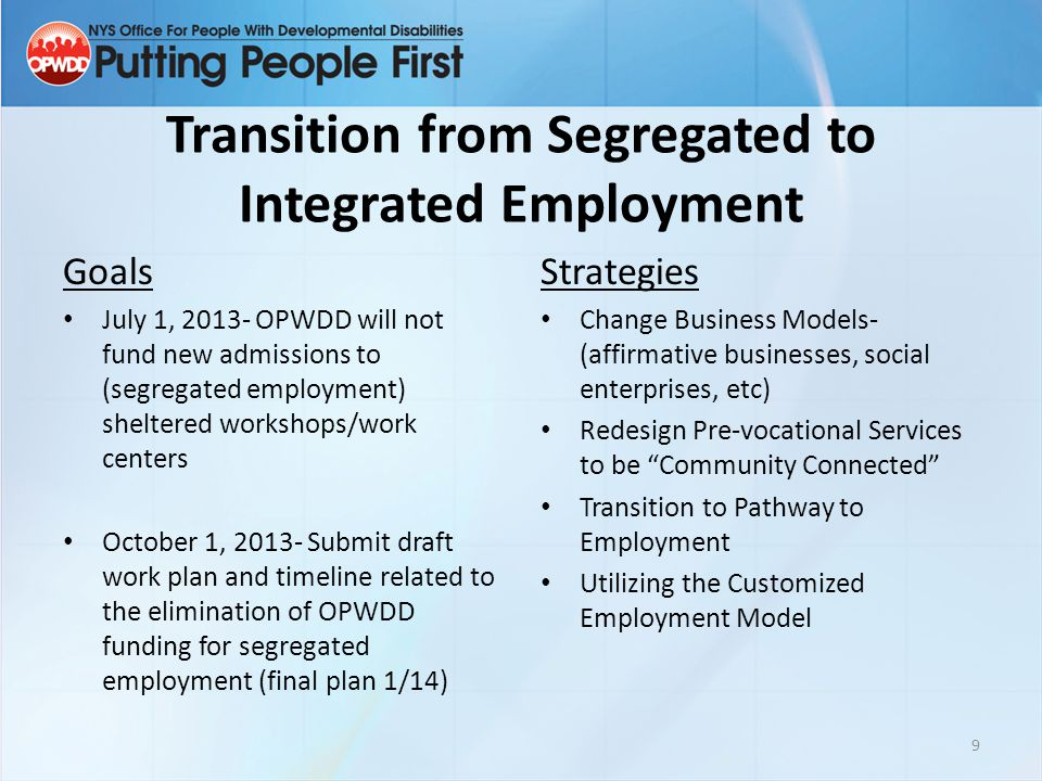 Transition from Segregated to Integrated Employment
