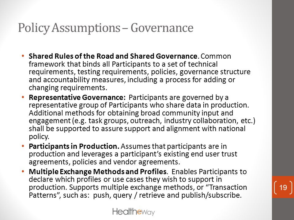 Policy Assumptions – Governance