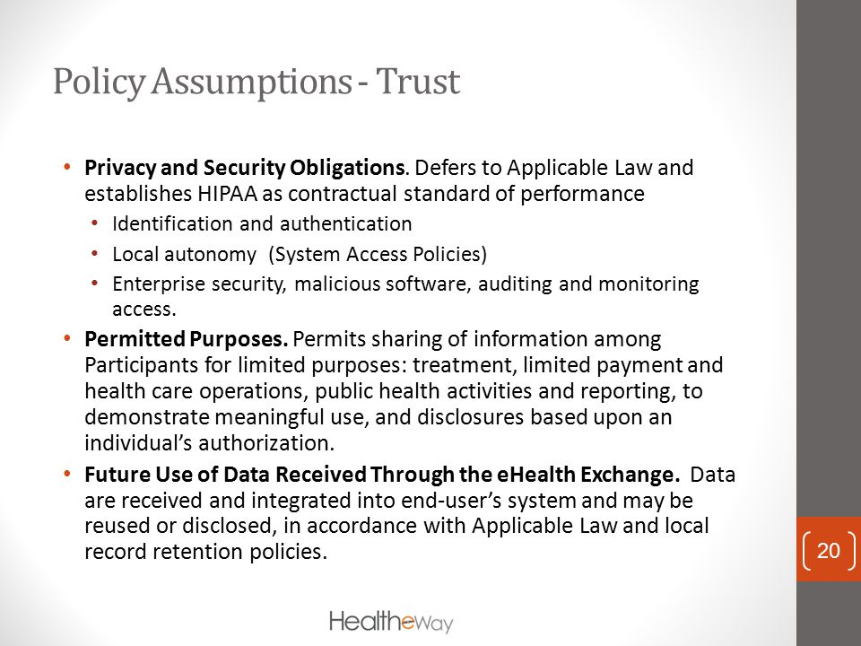 Policy Assumptions - Trust