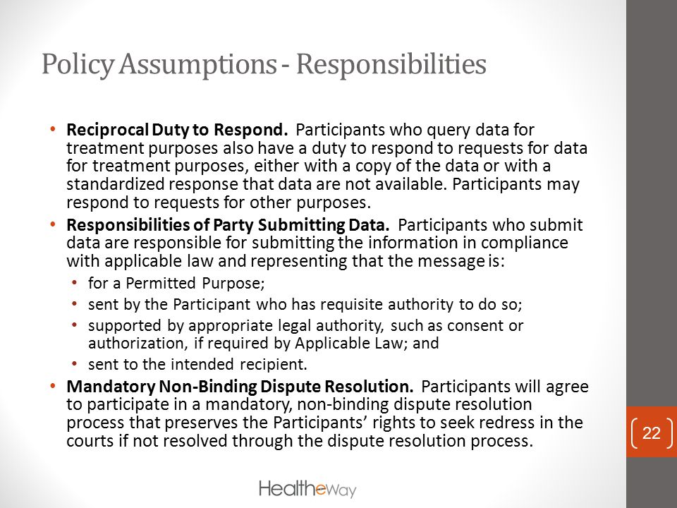 Policy Assumptions - Responsibilities