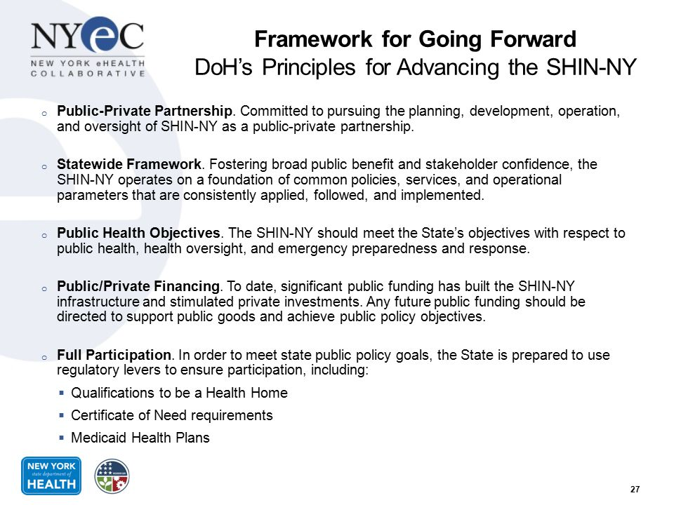 Framework for Going Forward DoH's Principles for Advancing the SHIN-NY