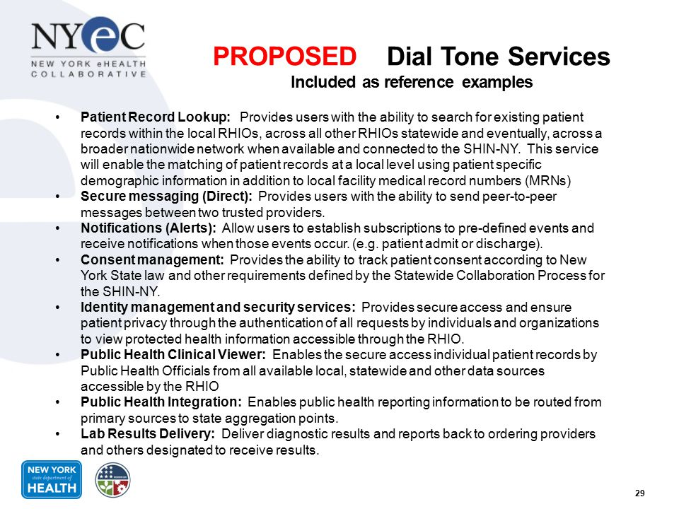PROPOSED Dial Tone Services Included as reference examples