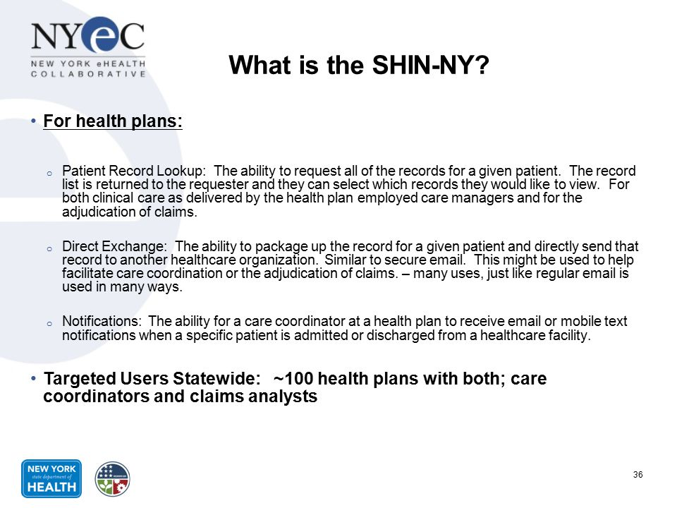 What is the SHIN-NY For health plans: