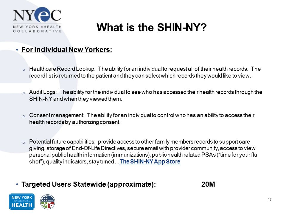 What is the SHIN-NY For individual New Yorkers: