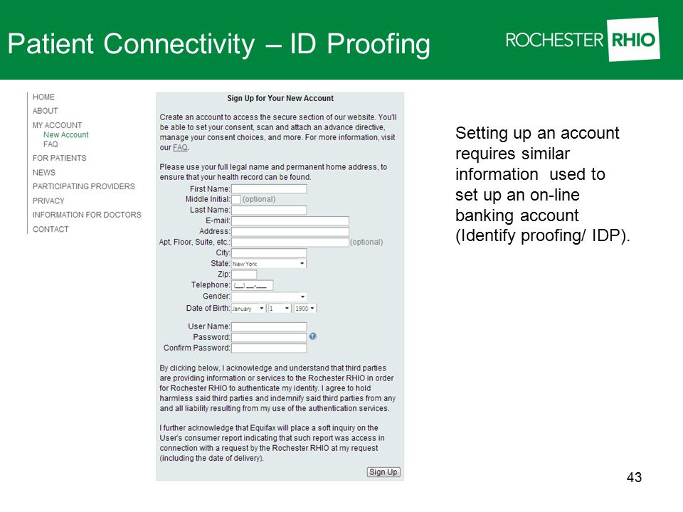 Patient Connectivity – ID Proofing