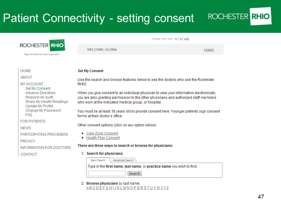 Patient Connectivity - setting consent