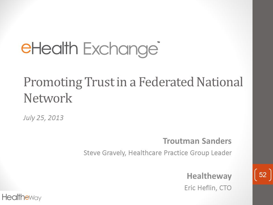 Promoting Trust in a Federated National Network
