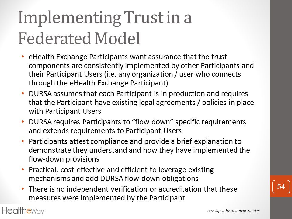 Implementing Trust in a Federated Model