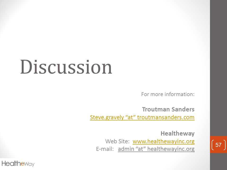 Discussion Troutman Sanders Healtheway