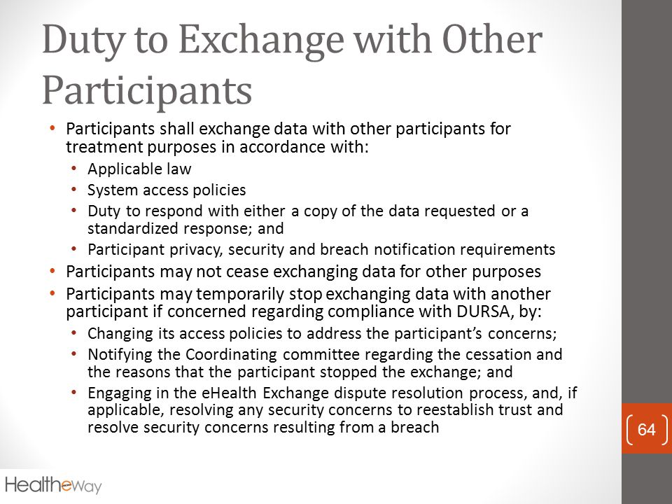 Duty to Exchange with Other Participants