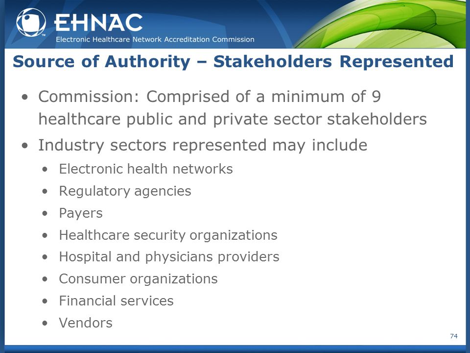 Source of Authority – Stakeholders Represented
