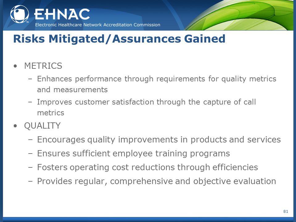 Risks Mitigated/Assurances Gained