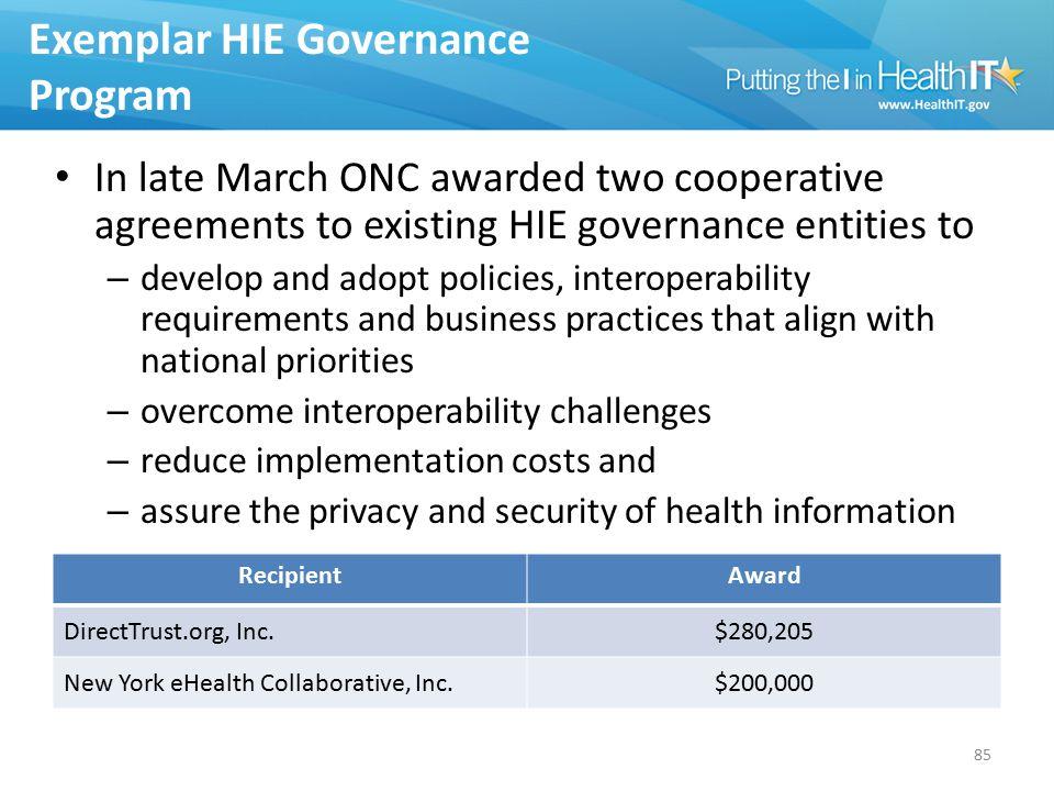 Exemplar HIE Governance Program