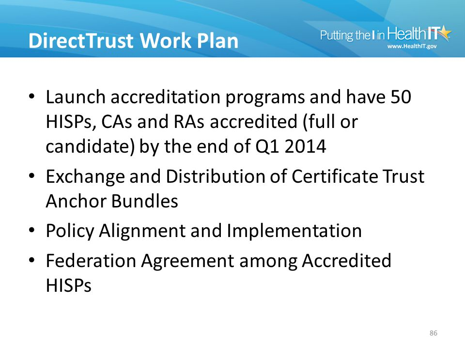 DirectTrust Work Plan Launch accreditation programs and have 50 HISPs, CAs and RAs accredited (full or candidate) by the end of Q1 2014.
