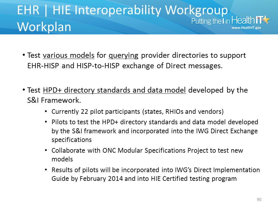 EHR | HIE Interoperability Workgroup Workplan
