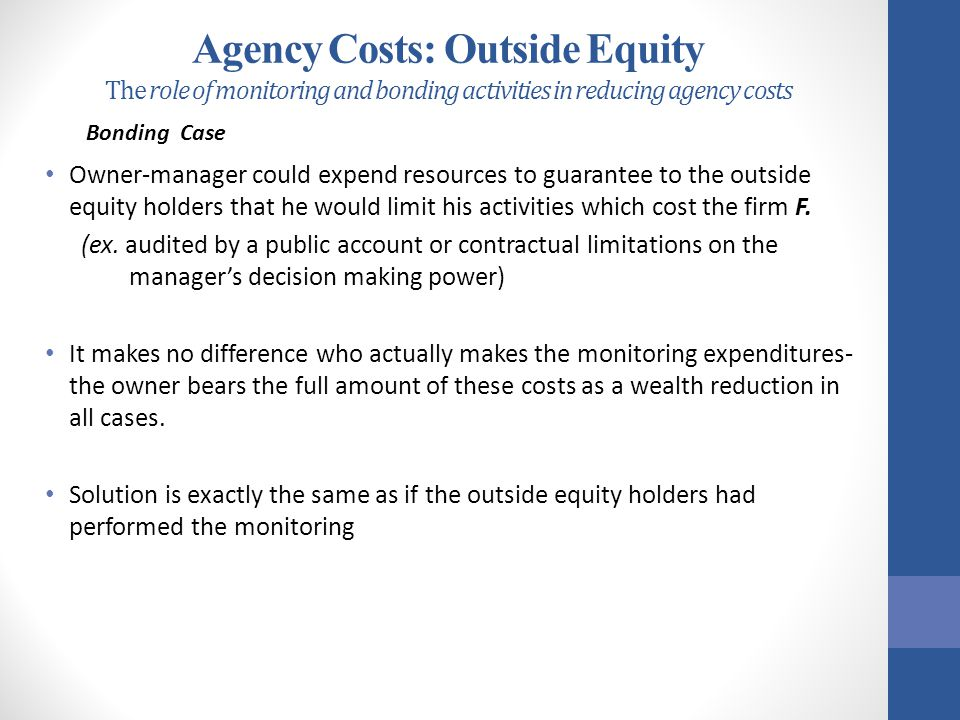Agency Costs: Outside Equity The role of monitoring and bonding activities in reducing agency costs
