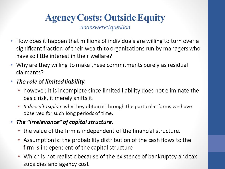 Agency Costs: Outside Equity unanswered question