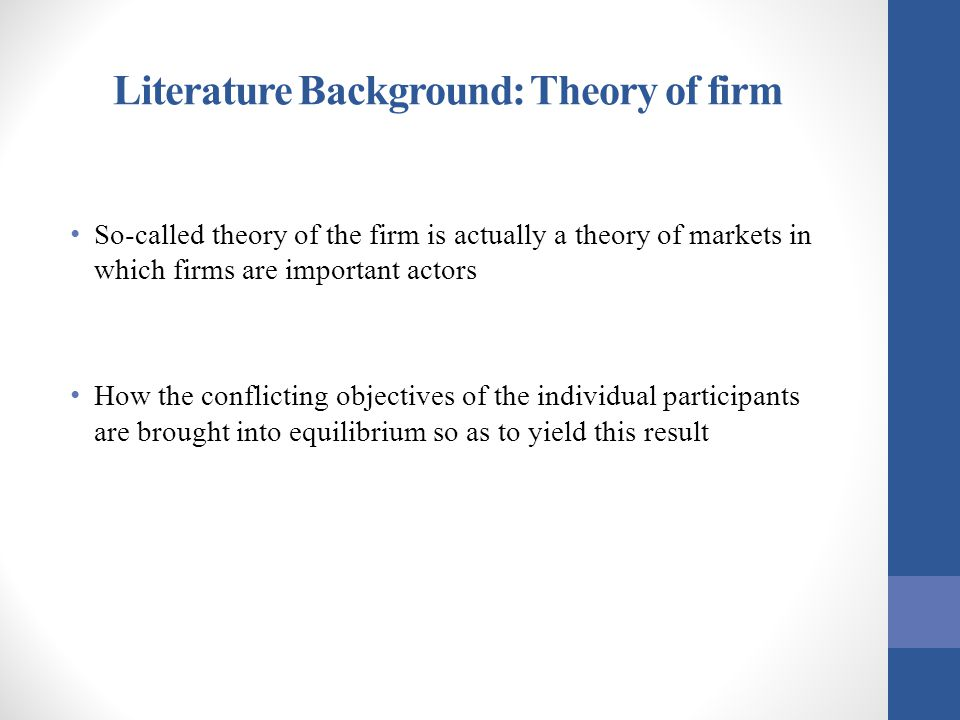 Literature Background: Theory of firm