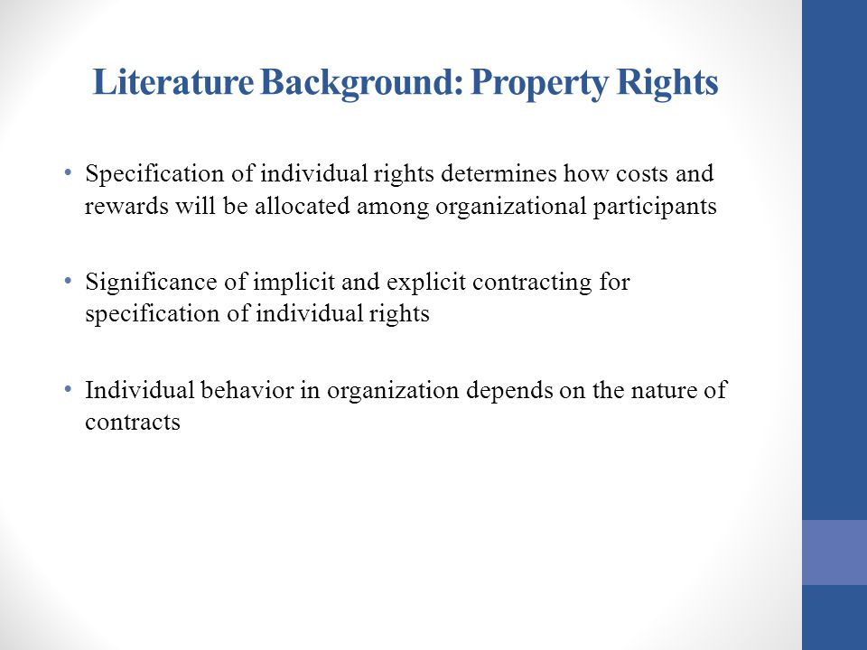 Literature Background: Property Rights