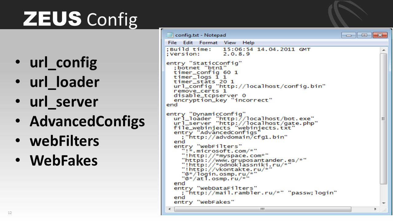 ZEUS Config url_config ­ url_loader url_server AdvancedConfigs