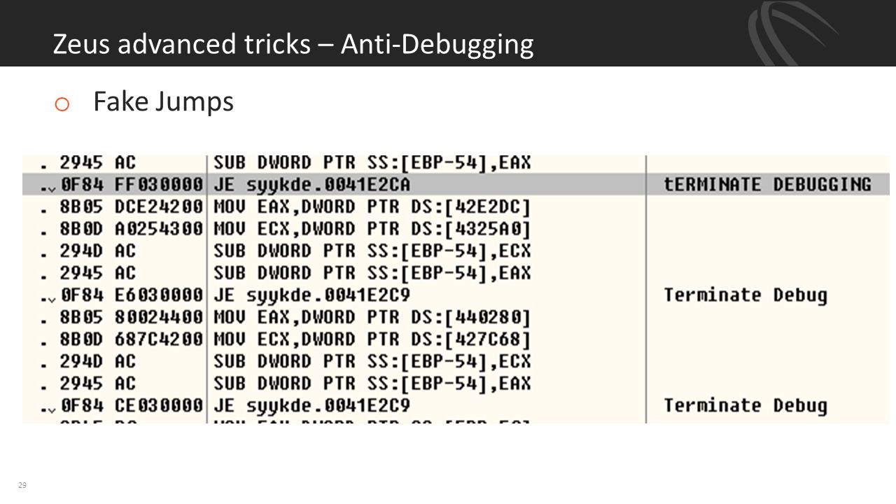 Zeus advanced tricks – Anti-Debugging