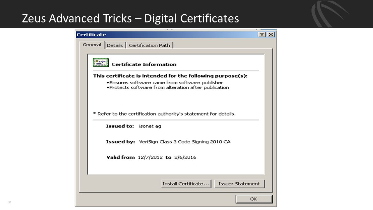 Zeus Advanced Tricks – Digital Certificates