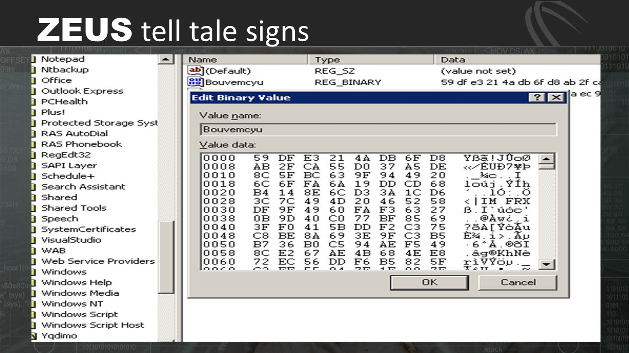 ZEUS tell tale signs Zeus version 2 saves encrypted config in registry