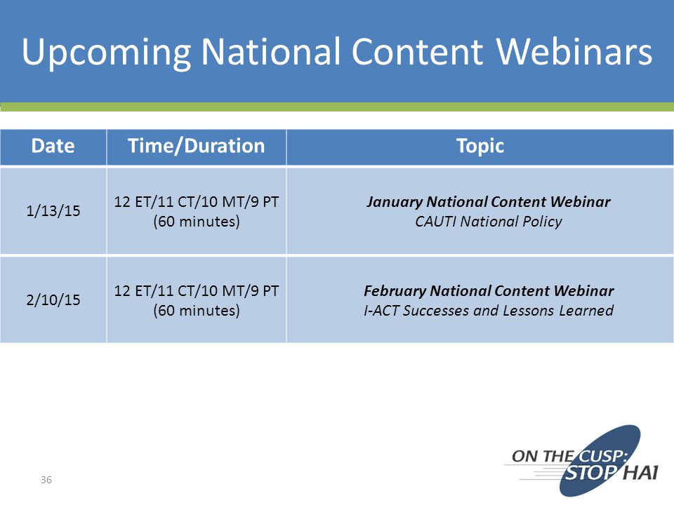 Upcoming National Content Webinars
