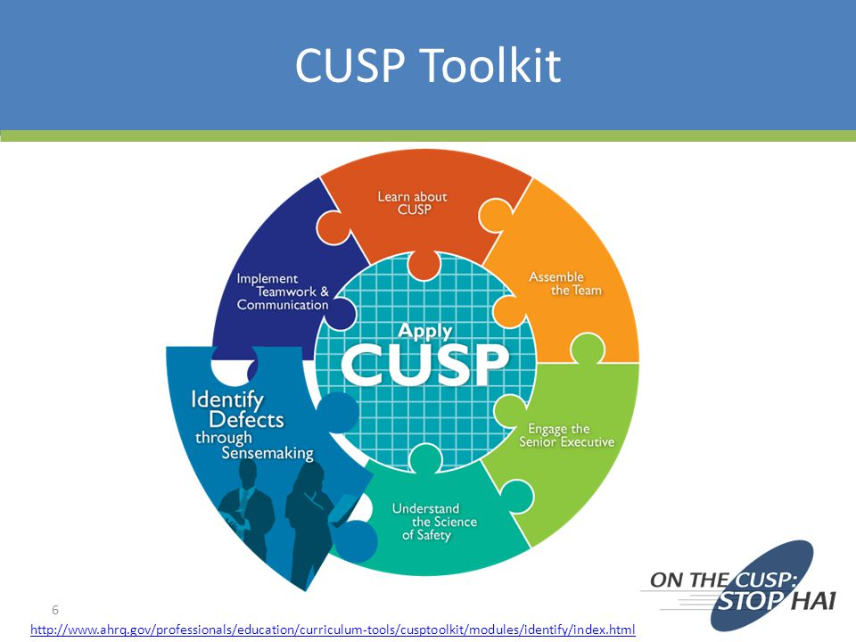 CUSP Toolkit http://www.ahrq.gov/professionals/education/curriculum-tools/cusptoolkit/modules/identify/index.html.