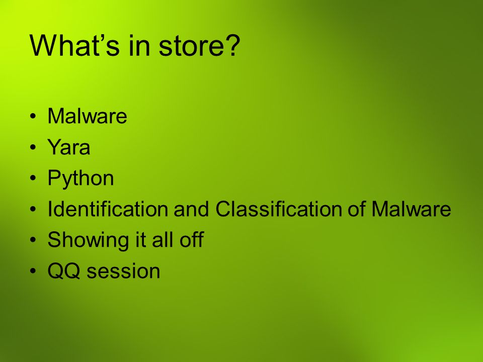 What's in store Malware Yara Python