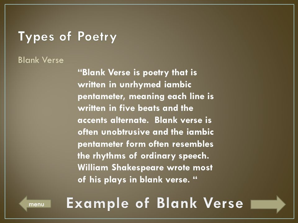 Example of Blank Verse Types of Poetry Blank Verse