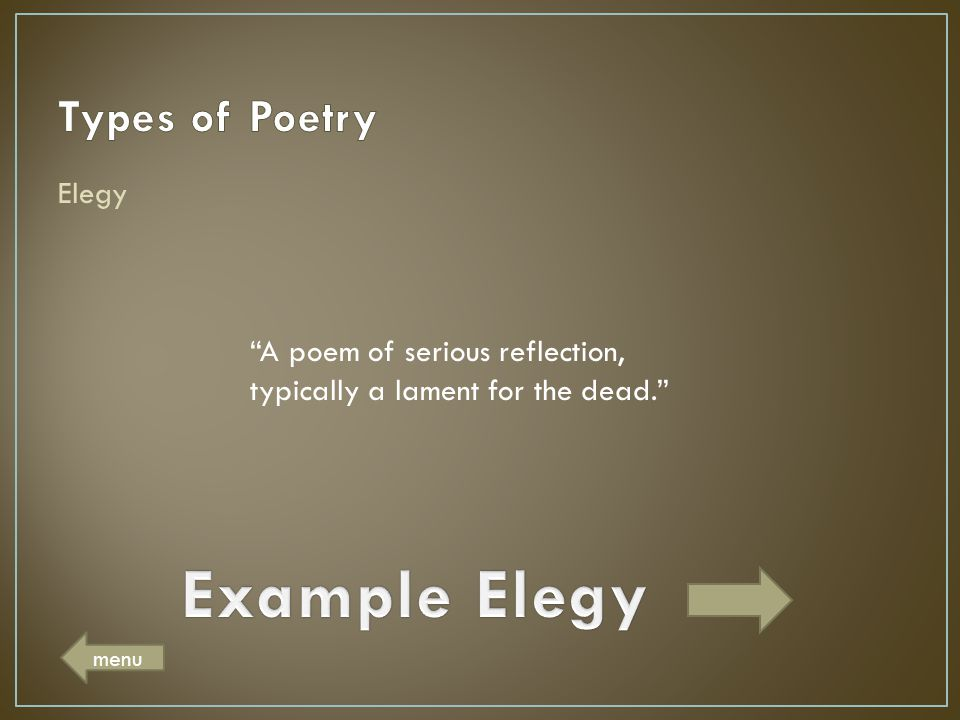 Example Elegy Types of Poetry Elegy