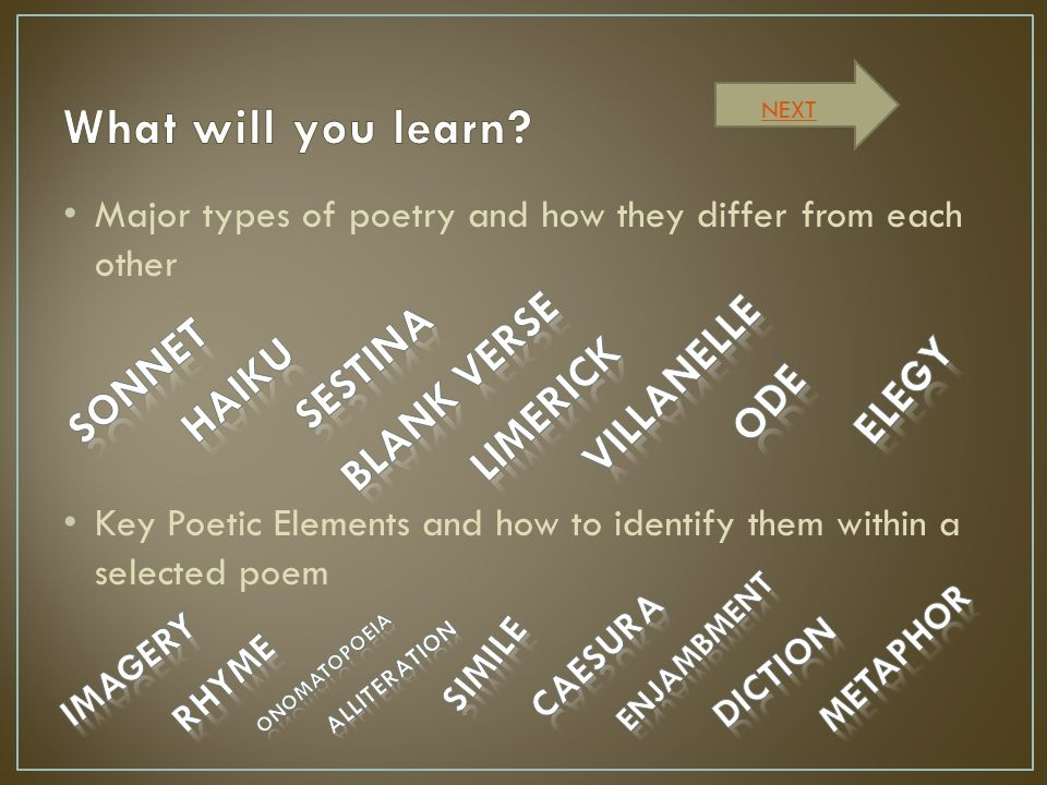 What will you learn Sestina Blank Verse villanelle Sonnet Haiku elegy