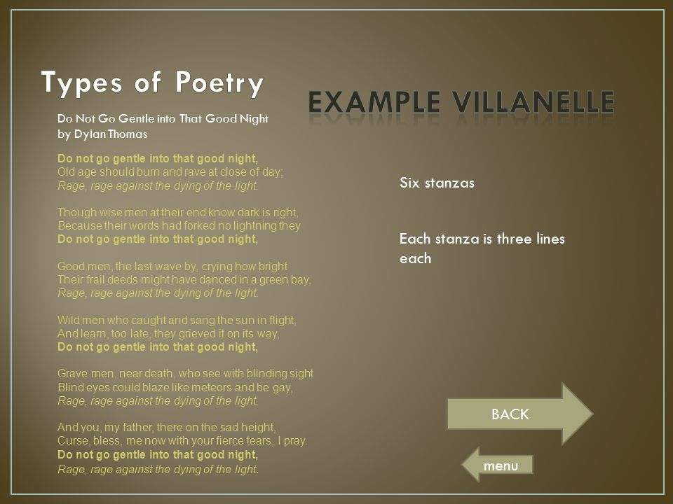 Types of Poetry EXAMPLE VILLANELLE Six stanzas