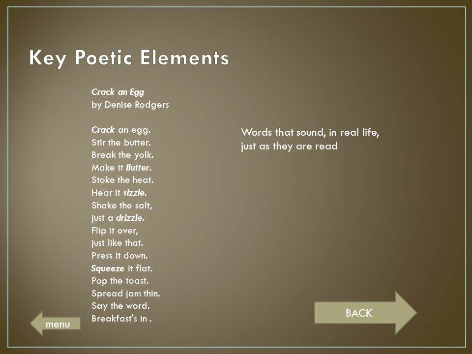 Key Poetic Elements Crack an Egg by Denise Rodgers.