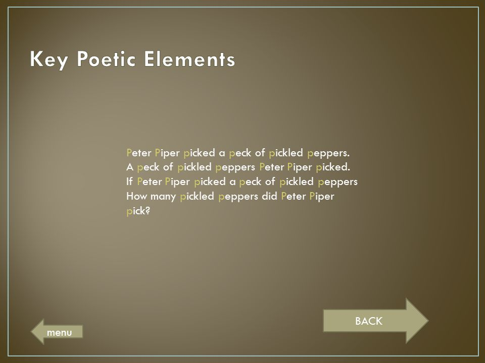 Key Poetic Elements