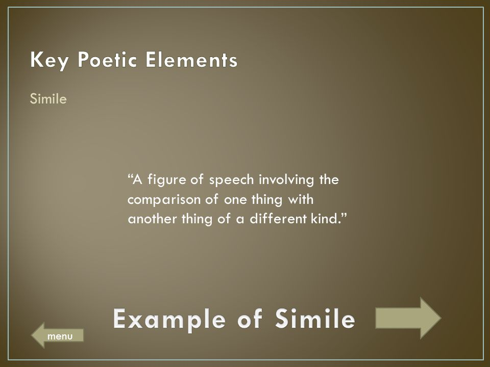 Example of Simile Key Poetic Elements Simile