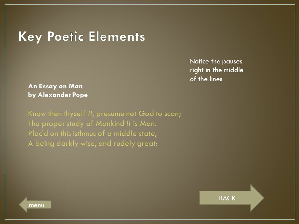 Key Poetic Elements Notice the pauses right in the middle of the lines. An Essay on Man by Alexander Pope.