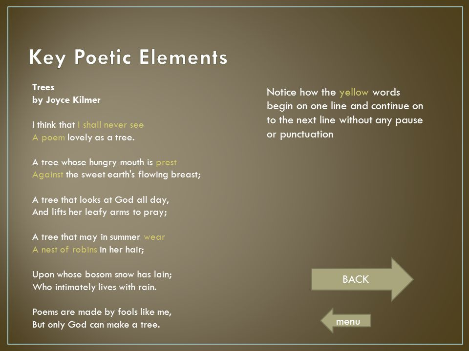 Key Poetic Elements Trees by Joyce Kilmer.