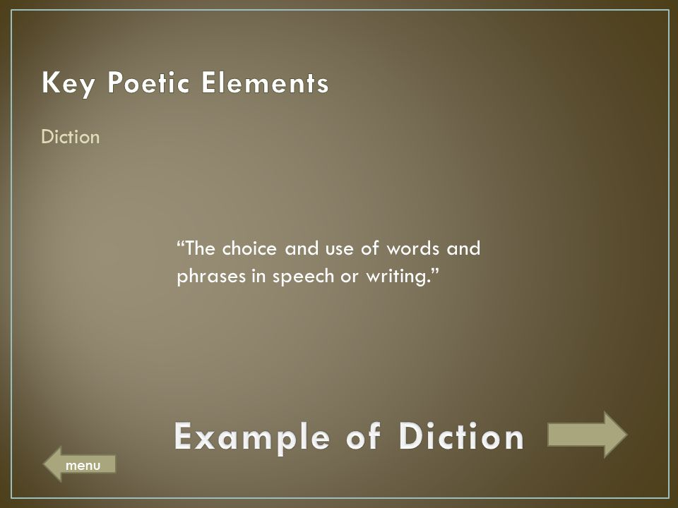 Example of Diction Key Poetic Elements Diction