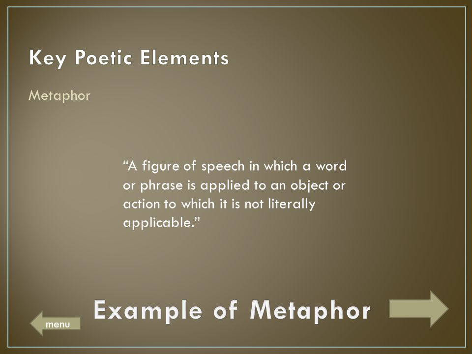 Example of Metaphor Key Poetic Elements Metaphor