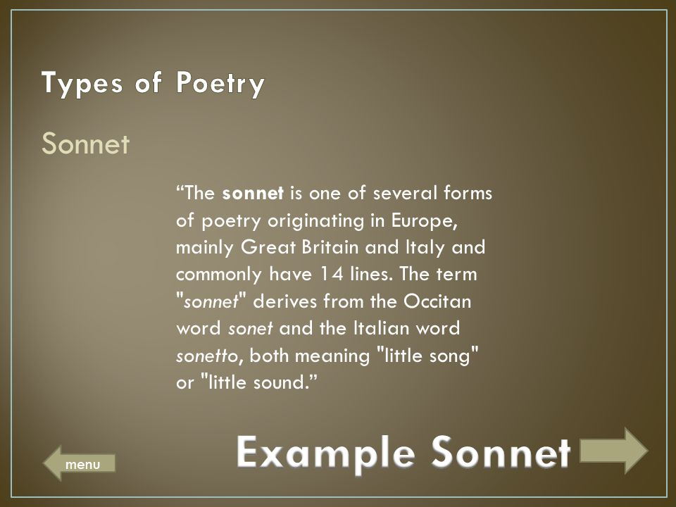 Example Sonnet Types of Poetry Sonnet