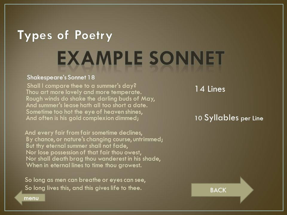 Example Sonnet Types of Poetry 14 Lines 10 Syllables per Line BACK