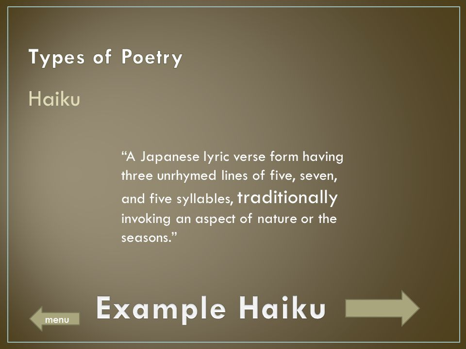 Example Haiku Types of Poetry Haiku