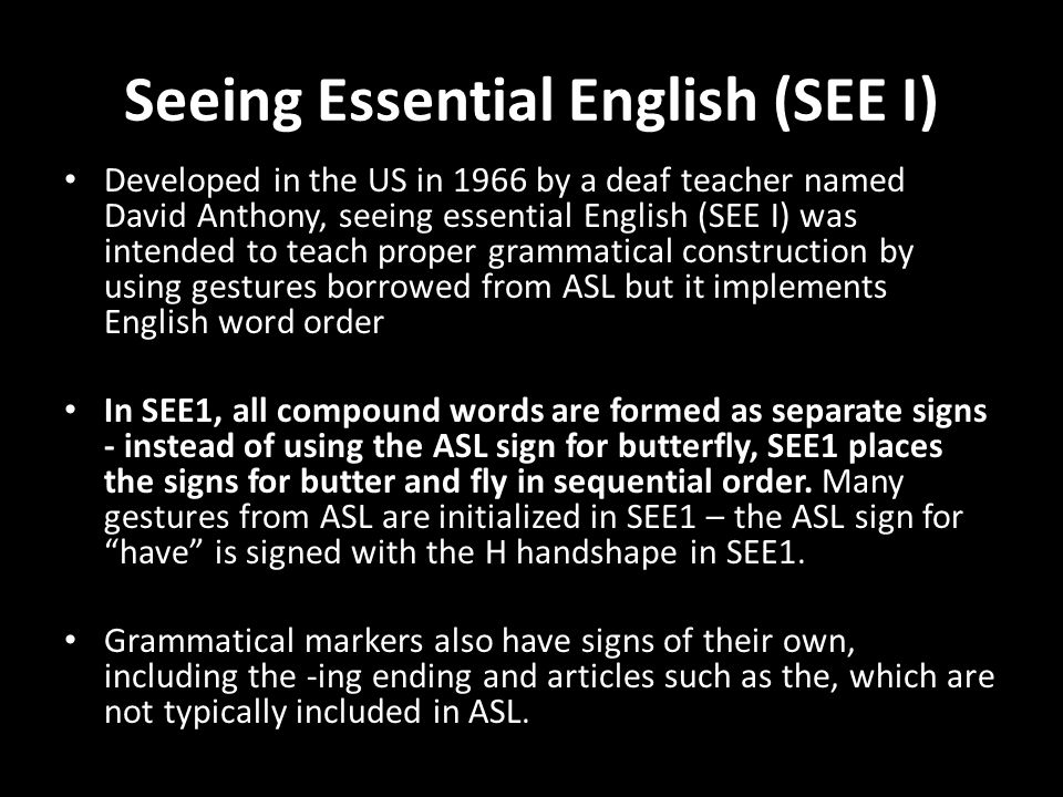 Seeing Essential English (SEE I)