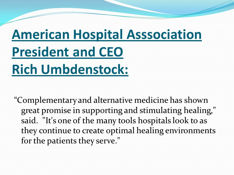 American Hospital Asssociation President and CEO Rich Umbdenstock: