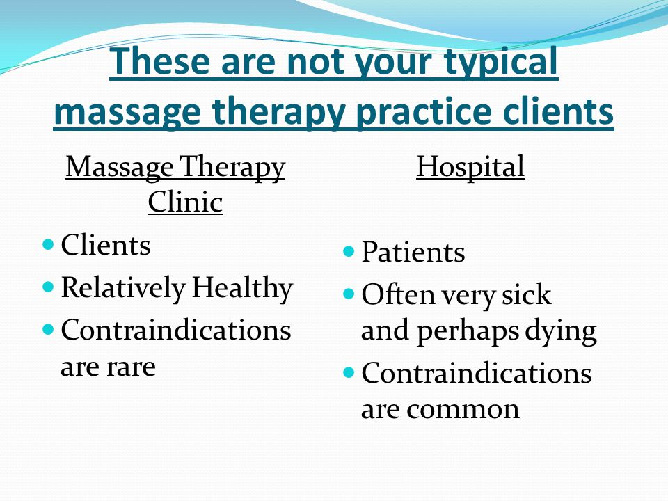 These are not your typical massage therapy practice clients