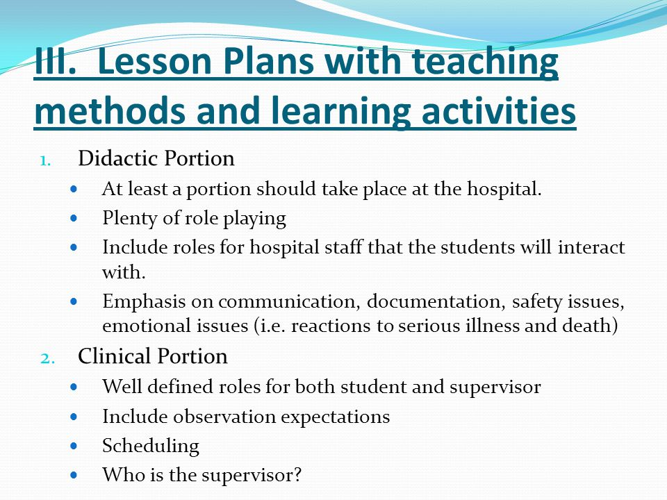 III. Lesson Plans with teaching methods and learning activities