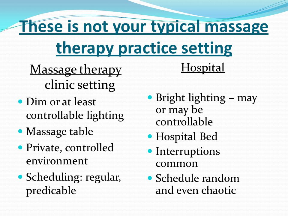 These is not your typical massage therapy practice setting