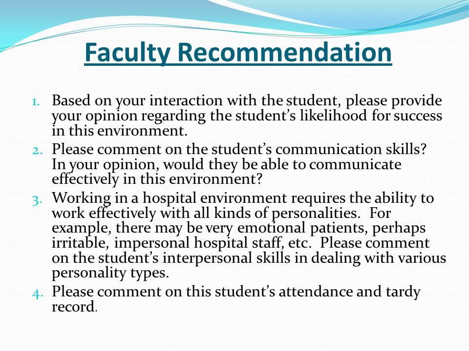 Faculty Recommendation